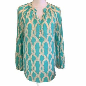 Macbeth Collection Abstract Print Teal Blouse